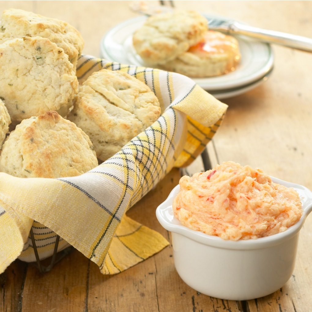 Red Pepper Jelly Butter with Cheddar Herb Biscuits